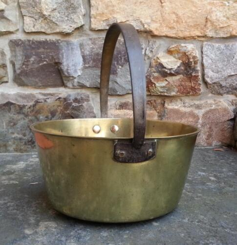 Heavy solid bell metal brass country kitchen pail c1800