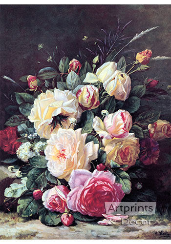 A Still Life with Roses by Jean Baptiste Robie (Art Print of Vintage Art)