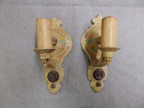 Pair Antique Sconce Wall Light Old Vtg Shabby Victorian Floral Polychrome 06-16