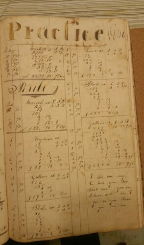 c1845 Arithmetic Workbook, folkart, original, calligraphy, antique Americana