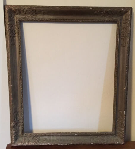 Big Arts & Crafts Picture Frame Carved & Gray Gilt Oil Painting Newcomb Macklin