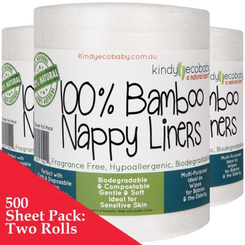 440 x Bamboo Flushable Liners, disposable Nappy Cloth Natural Liners x 2 Rolls
