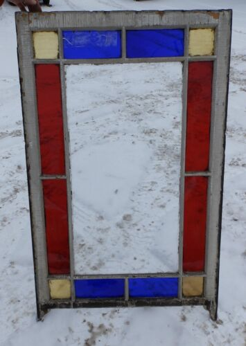 Antique Stained Glass Window Victorian Old Shabby Cottage Chic Vtg Garden 68-16