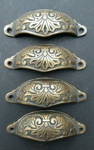 """4  Apothecary Drawer Cup Bin Pull Handles 4 1/8"""" Antique Vict. Style Brass #A1"""