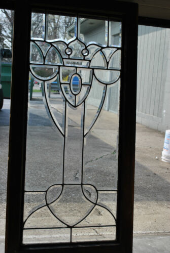 Antique Fully Beveled Glass Window with Jewels