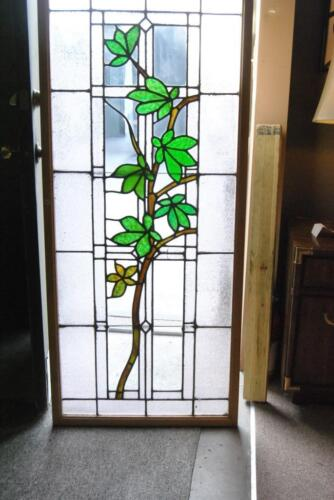 ANTIQUE STAINED GLASS WINDOW BRANCH & LEAVES PATTERN