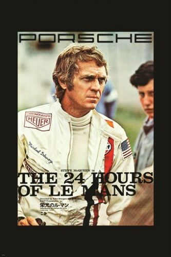 vintage racing poster STEVE MCQUEEN the 24 hours of le man CAR 24X36