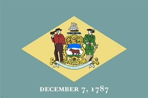 delaware state flag poster OFFICIAL HISTORIC POLITICAL COLONIAL prized 24X36