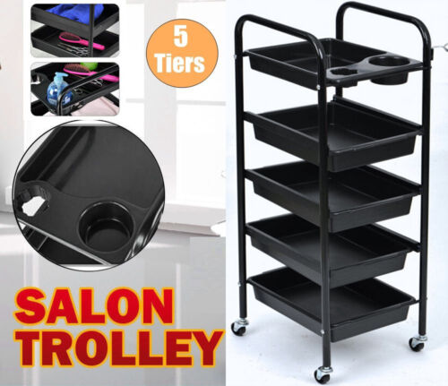 Spa Hairdresser Coloring Hair Black Salon Trolley Rolling Storage Cart 5 Tier AU