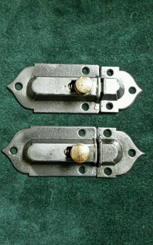 Pair of restored antique cast iron cabinet latches  over 125 years old !!!