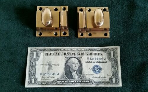 Matched pair of ANTIQUE HEAVY CAST BRONZE cabinet latches restored ready to use