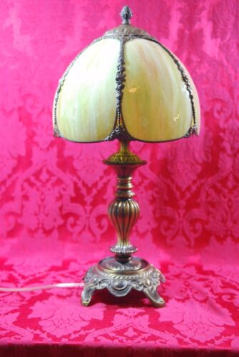 Amazing! Vintage Green Glass Slag Dome Lamp Shade Bronze Rose Decor Art Nouveau