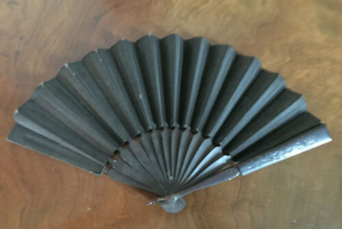 Antique Victorian Lady's Hand Fan Mourning Black Paper & Ebonized Wood 19th c.