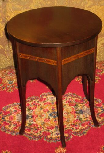 VINTAGE MAHOGANY PLANT STAND LAMP TABLE DISPLAY STOOL ROUND TOP 6-PANEL SIDES