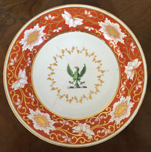 Antique Chamberlains Worcester Porcelain Armorial Plate Dish Orange Blossom 19th