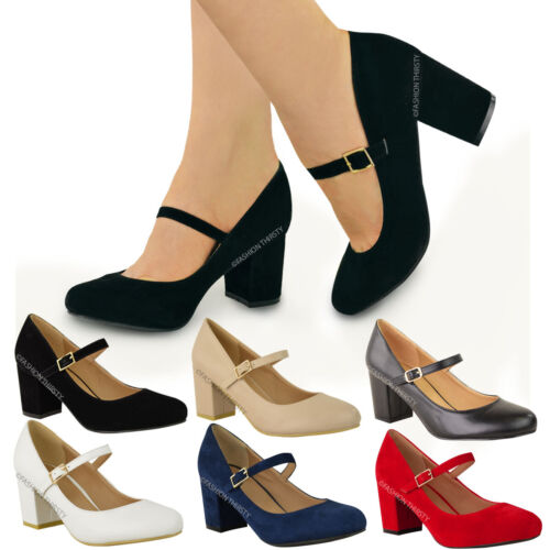 a0347a8181 WOMENS LADIES MID BLOCK HEEL MARY JANE OFFICE WORK FORMAL STRAP DOLLY SHOES  SIZE