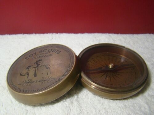 Boy Scouts of America Antique Brass Nautical Pocket Compass Robert Frost Poem