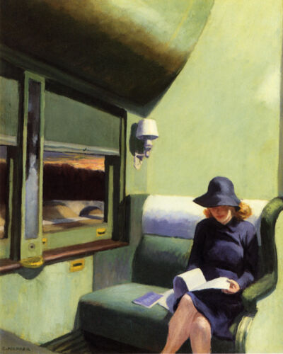Woman 1938 Compartment C Car Train by Edward Hopper Art Repro FREE S/H