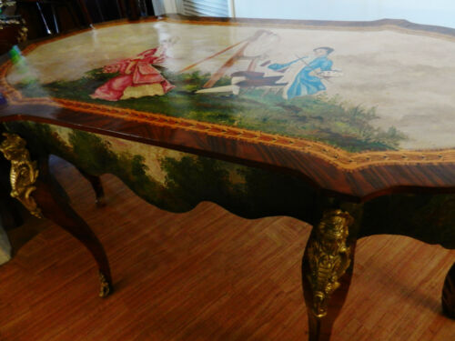 Gorgeous French Louis Style Vernis Hand Painted Table / Desk Figural Ormolu's