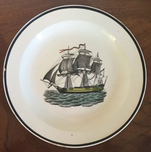 Antique Pearlware Creamware Dinner Plate Nautical Sailing Ship Wedgwood 19th c.