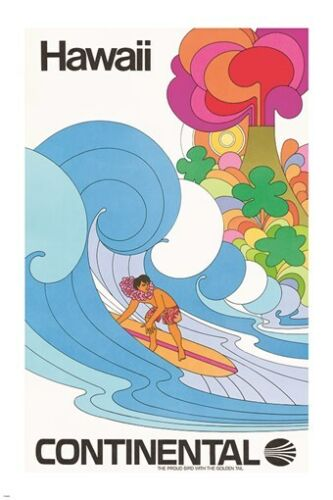 vintage travel poster HAWAII via CONTINENTAL psychedelic artsy SURFING 24X36