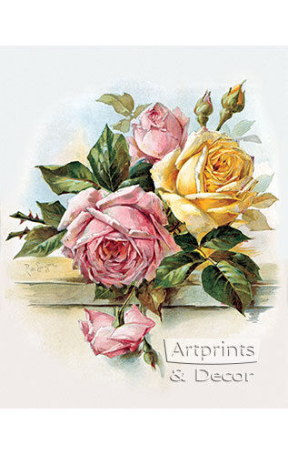 Pink and Yellow Roses by Paul de Longpre (Art Print of Vintage Art)