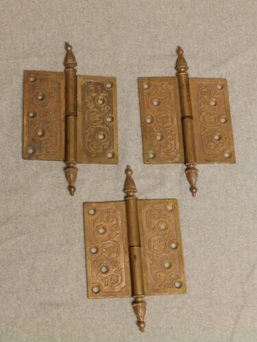 3 Large Antique Brass Right Hand Lift Off Gravity Steeple Point Hinges 752-16
