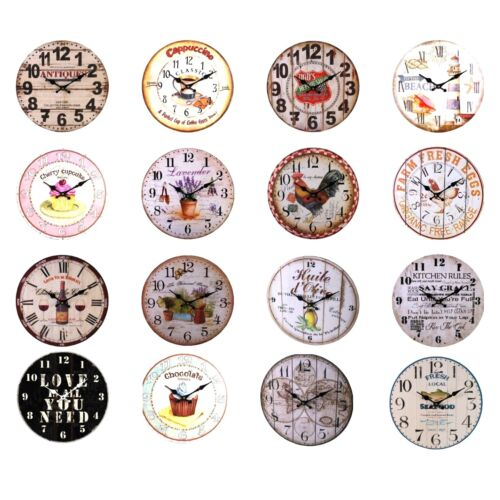 Assorted Designs - Large Rustic Retro Kitchen Wall Clock 34cm (1 Supplied)