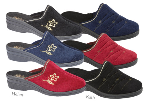 LADIES SLIP ON WEDGED MULE SLIPPER LUXURY SIZES 3 - 8 BLACK,NAVY,BURGUNDY