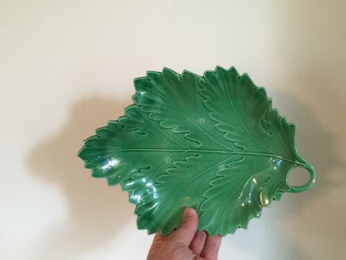 Antique English Creamware Pearlware Green Leaf Plate 18th 19th c. Staffordshire
