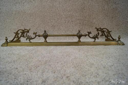 English Chippendale Style Scrolled Acanthus Solid Brass Fireplace Fender Quality