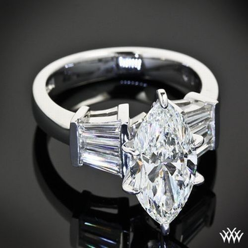Women's Stainless Steel Marquise & Baguette CZ Wedding Promise Cocktail Ring