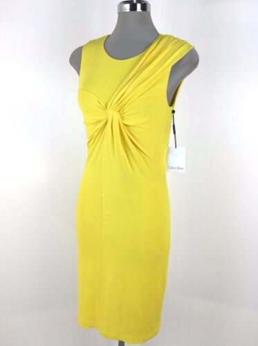 Calvin Klein New WT Yellow Sun-ray knotted chest and scarf like shoulder 8 10 12