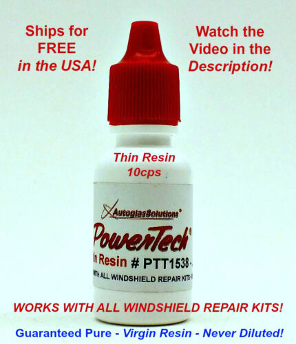 PowerTech Thin Auto Glass Windshield Rock Chip Crack UV Repair Resin .5 oz 15 ml <br/> Watch Video in Description! Use Use with any kit.