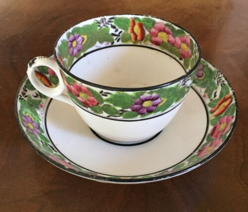Antique 19th century London Bute Shape Porcelain Tea Cup & Saucer Spode New Hall