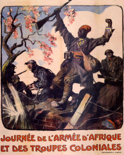 POSTER AFRICAN ARMY AND COLONIAL TROOPS WORLD WAR II VINTAGE REPRO FREE S/H