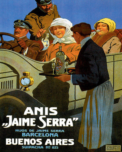 POSTER ANIS JAIME SERRA BUENOS AIRES AUTOMOBILE CAR VINTAGE REPRO FREE SH