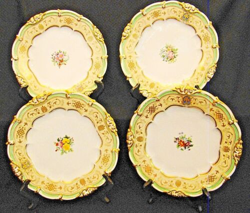 Rare Signed Ed Honore First Empire Old Paris Set 4 Antique Plates 1810-1816
