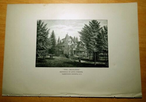 Antique Print 1886 RESIDENCE OF LEWIS ROBERTS Tarrytown Heights, New York NY