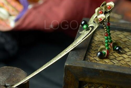 Women Hairpin Vintage Hair Stick with Copper Made Flowers and Stone Beads Fine
