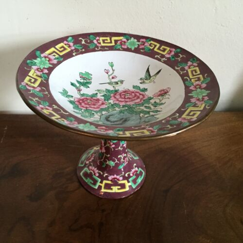 Chinese Canton Enamel Tazza Centerpiece Footed Bowl 19th c. Peony Famille Rose