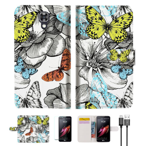 Butterfly Garden Wallet TPU Case Cover For Telstra Signature Enhanced--A018