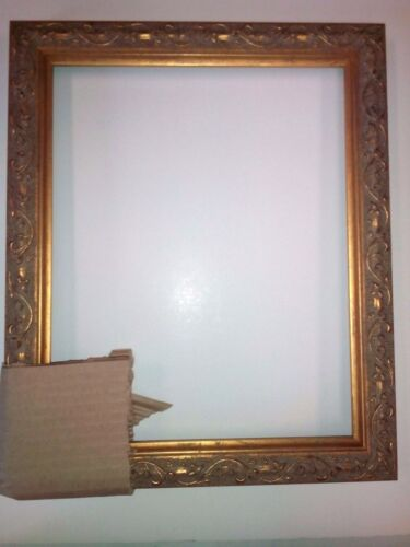 8 x 10 Picture Frame Antique Gold Flowers Finish Ornate