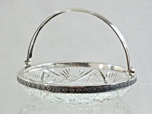 RUSSIAN SILVER / HAND CUT CRYSTAL CANDY DISH EARLY SOVIET PERIOD 1920 - 1930'S