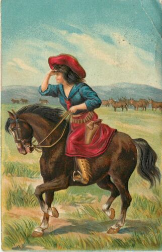 c1907 Embossed Chromograph Postcard; Western Cowgirl on Horse, Cattle, Posted