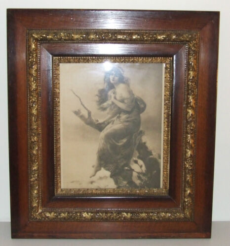 "Antique Victorian 4 Layer Oak & Gold Floral Gesso 14"" x 17"" Picture Frame, Glass"