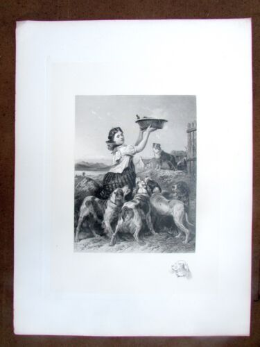 Rare Antique Engraving Highland Keeper's Daughter by C. Cousen after R. Ansdell