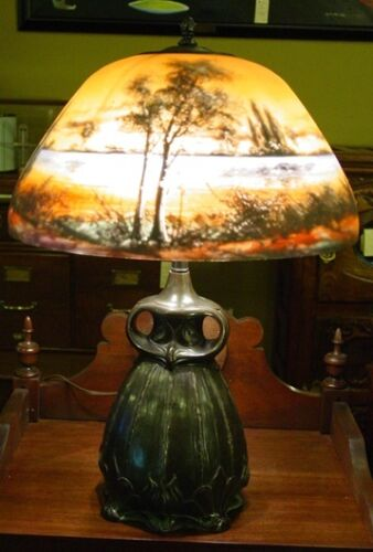 Scenic reverse painted lamp-Moe Bridges--14783