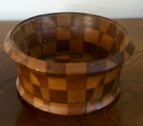 Antique Hand Made Turned Treen Wood Bowl Harlequin Checkerboard Design