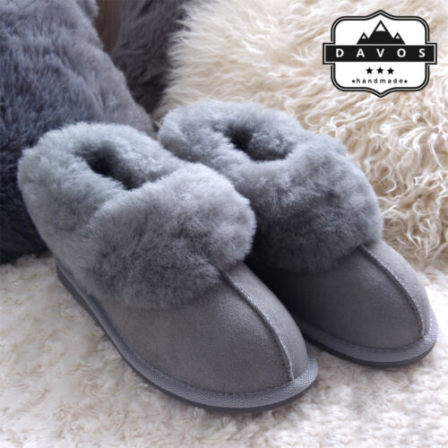 Women's Luxury Handmade 100% Genuine Sheepskin Suede Fur Slippers  Hard EVA Sole <br/> HIGH QUALITY, FAST & FREE DELIVERY, UK STOCK